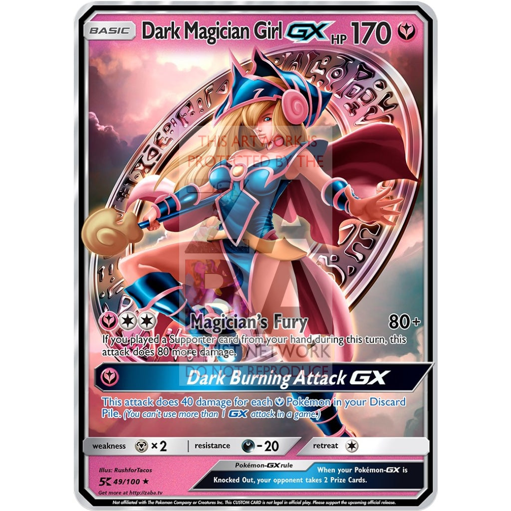 Dark Magician Girl Gx (Pokemon Yu-Gi-Oh! Crossover) Custom Pokemon Card Silver Holographic