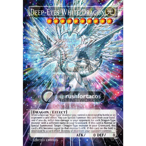 Deep-Eyes White Dragon Full Art Orica - Custom Yu-Gi-Oh! Card Silver Holographic