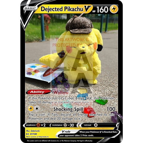Dejected Pikachu V (Wrinkly Face Pikachu) Custom Pokemon Card Silver Foil