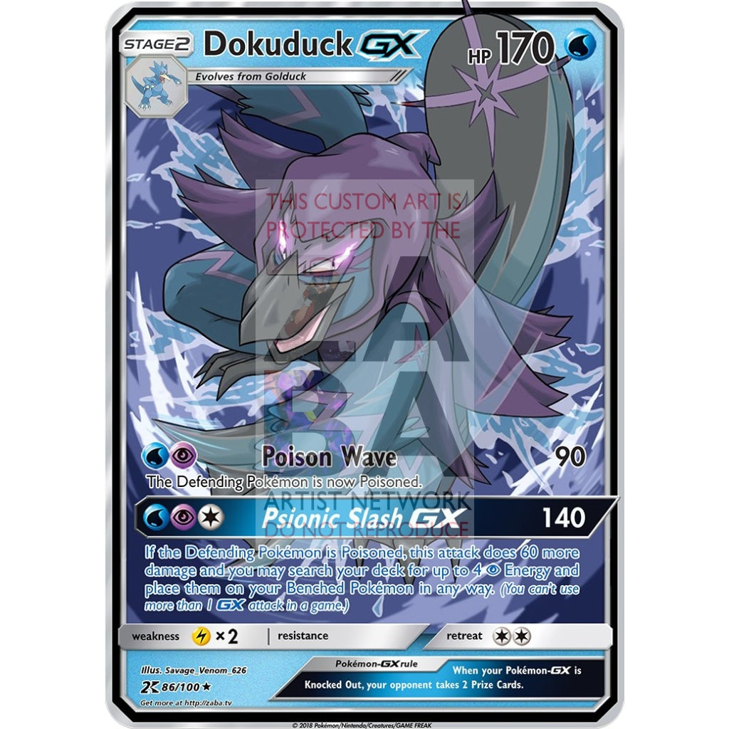Dokuduck Gx (Golduck Evolution) Custom Pokemon Card Silver Holographic