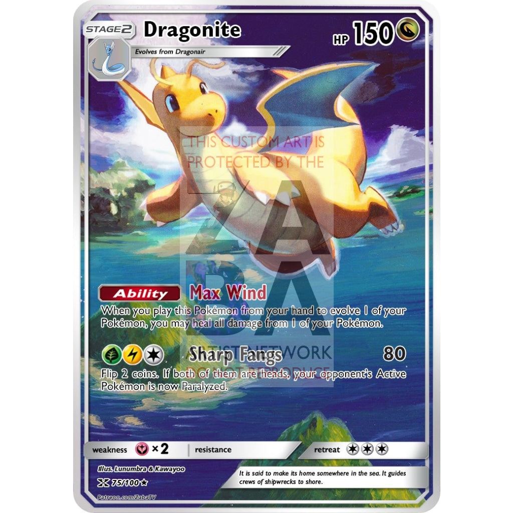 Dragonite 51/108 Xy Roaring Skies Extended Art Custom Pokemon Card Silver Holographic