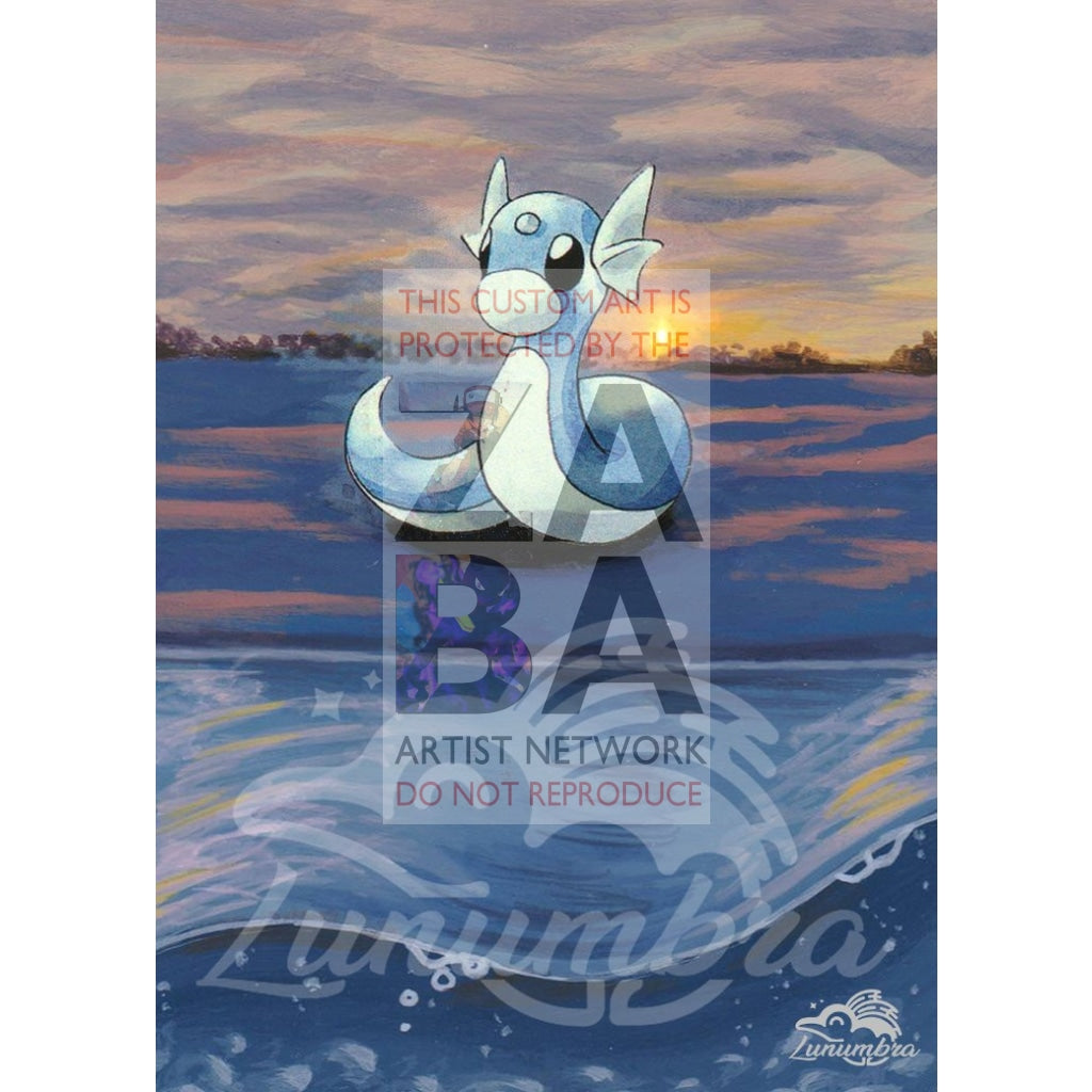 Dratini 26/102 Base Set Extended Art Custom Pokemon Card Textless Silver Holographic