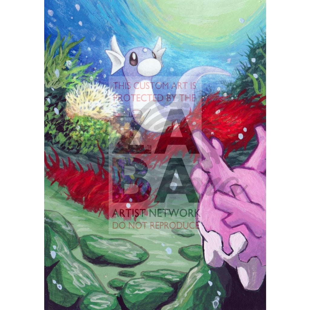 Dratini 94/149 Sun & Moon Extended Art Custom Pokemon Card Textless Silver Holographic