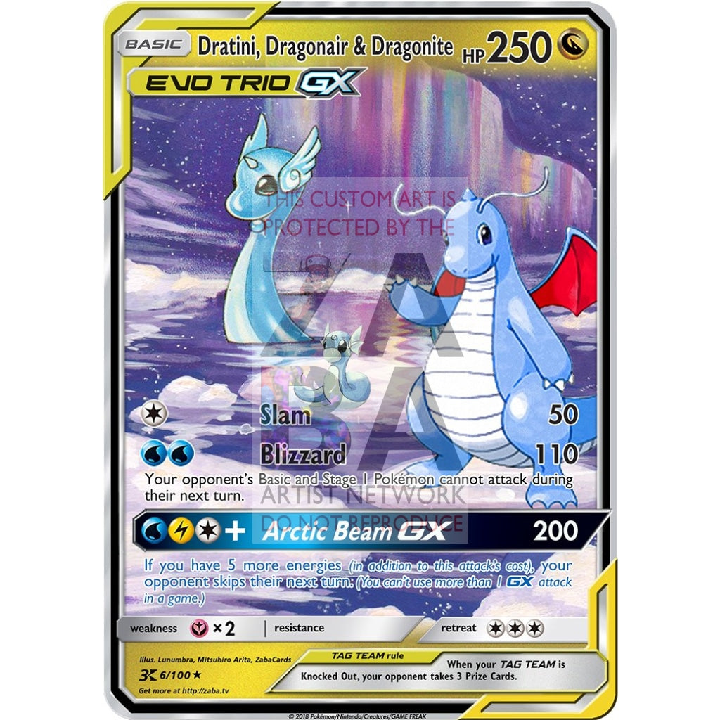 Dratini Dragonair & Dragonite Evo Tag Team Custom Pokemon Card