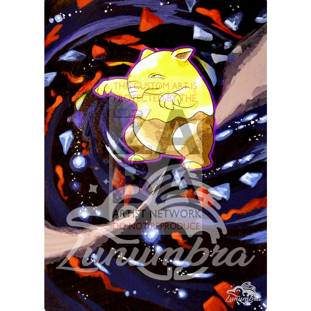 Drowzee 49/102 Base Set Extended Art Custom Pokemon Card Textless Silver Holographic