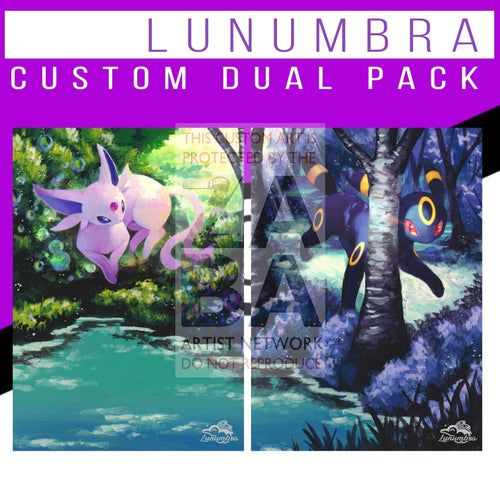 Dual Pack Espeon & Umbreon Lost Thunder Extended Arts Custom Pokemon Card Textless Silver