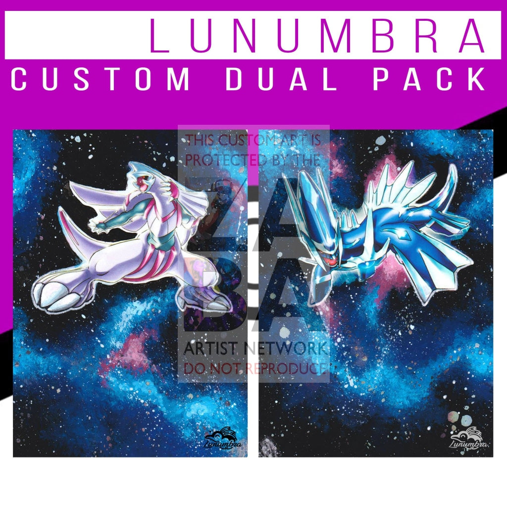 Dual Pack Palkia & Dialga Majestic Dawn Extended Arts Custom Pokemon Card Textless Silver