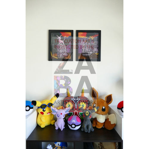 Dual Set Espeon + Umbreon 8.5 X 11 Continuous Art Poster Prints By Lunumbra