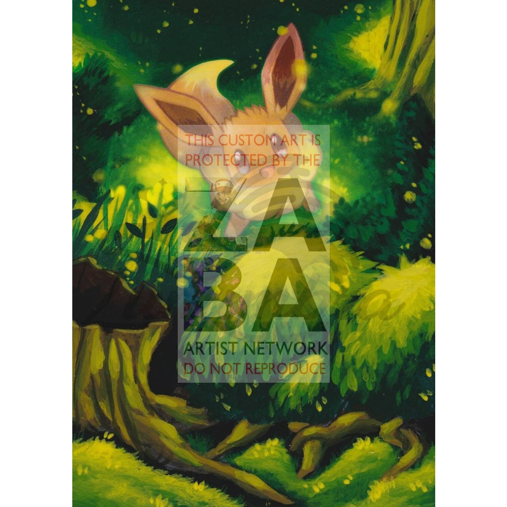 Eevee 104/138 Ultra Prism Extended Art Custom Pokemon Card Textless Silver Holographic