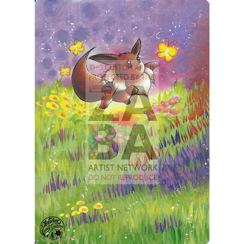 Eevee 51/64 Jungle Extended Art Custom Pokemon Card Silver Holo