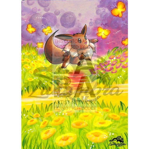 Eevee 51/64 Jungle Set Extended Art Custom Pokemon Card Textless Silver Holographic