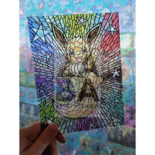 Eevee 6X8 (~15-20Cm) Stained Glass Custom Pokemon Art Scenes Card
