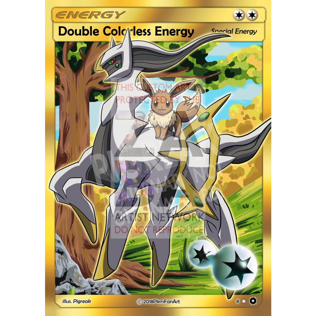 Eevee & Arceus Double Colorless Energy Pigreak Custom Pokemon Card