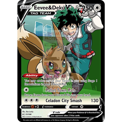 Eevee & Deku V Custom My Hero Academia X Pokemon Card Silver Foil