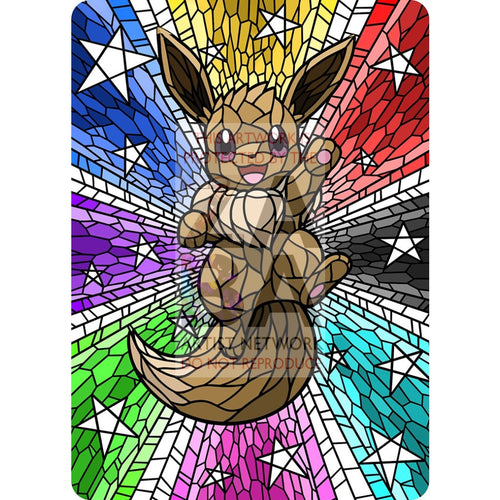 Eevee V Stained-Glass (Textless) Custom Pokemon Card Standard / Silver Foil