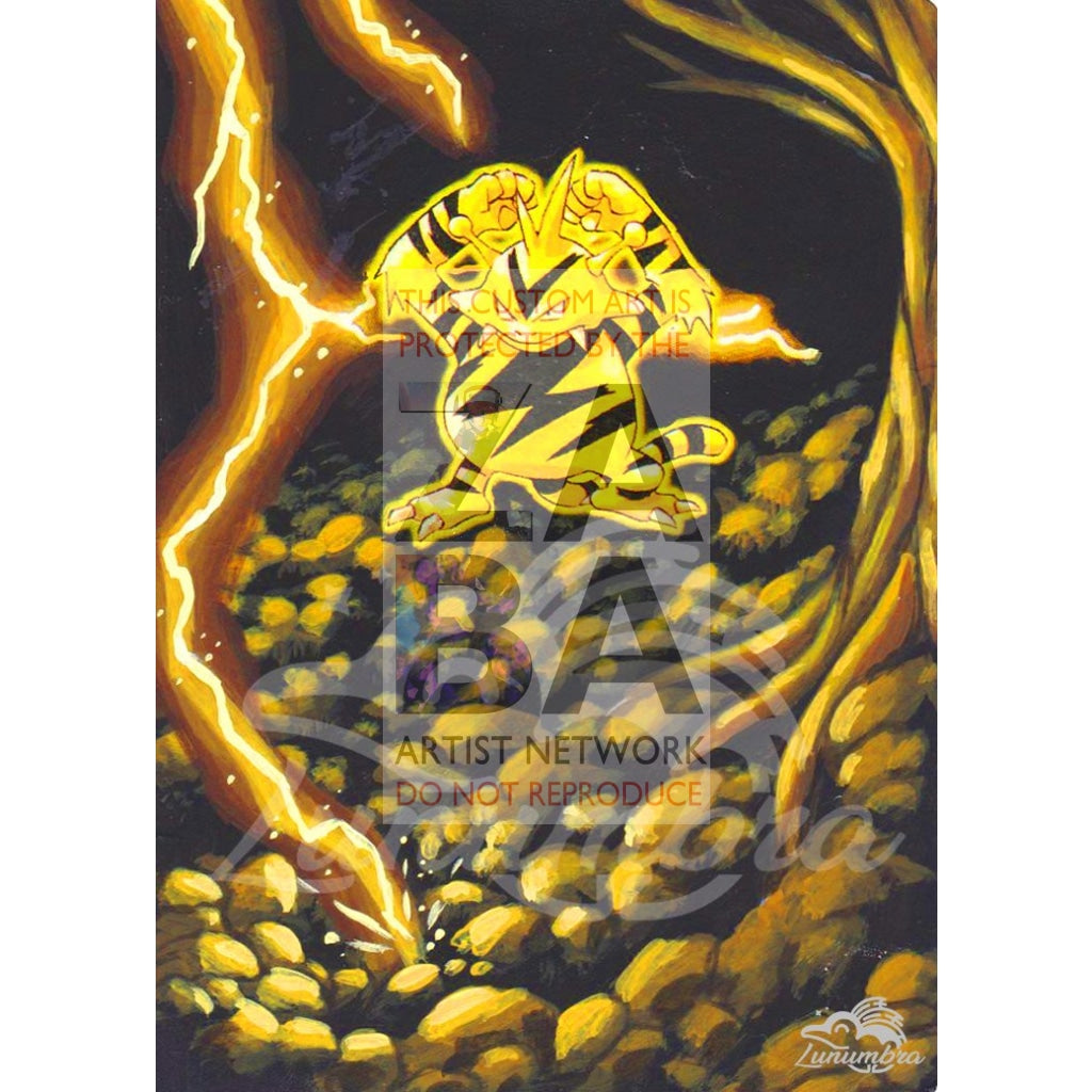 Electabuzz 20/102 Base Set Extended Art Custom Pokemon Card Textless Silver Holographic
