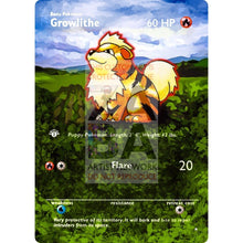 Entire Base Set Extended Art! (Choose A Single) Custom Pokemon Cards Growlithe Card