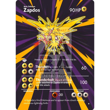 Entire Base Set Extended Art! (Choose A Single) Custom Pokemon Cards Zapdos Card