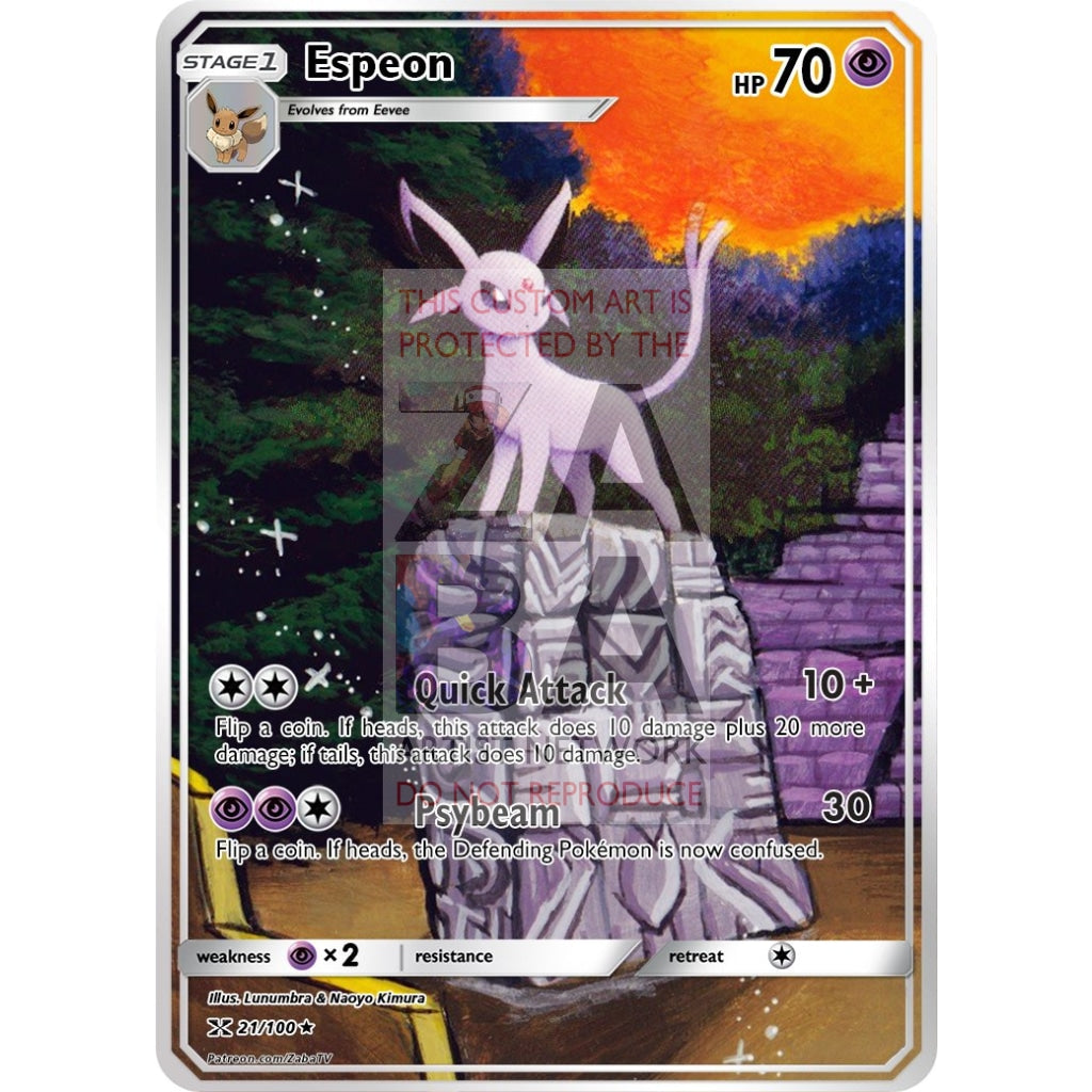 Espeon Neo Discovery 20/75 Extended Art Custom Pokemon Card Non-Holographic