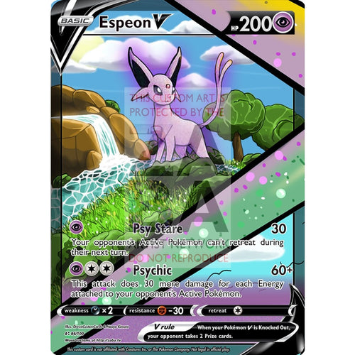 Espeon V Custom Pokemon Card Silver Foil
