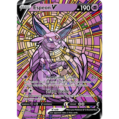 Espeon V Stained-Glass Custom Pokemon Card Standard / Silver Foil