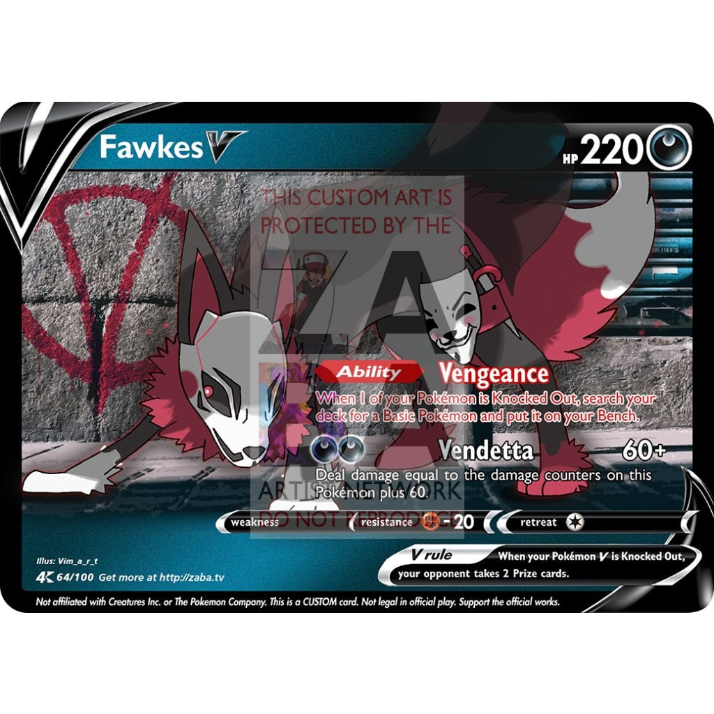 Fawkes V Custom Pokemon Card Art 1 Silver Foil