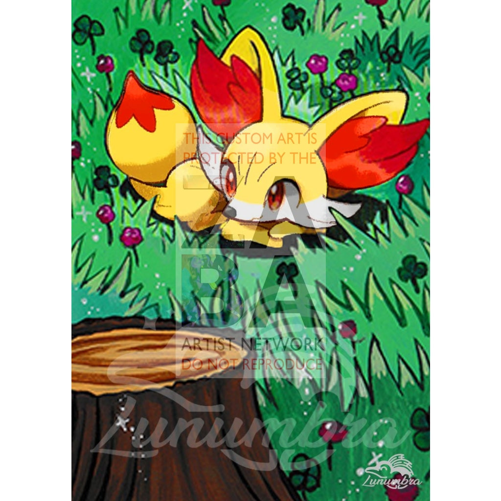 Fennekin 25/162 Xy Breakthrough Extended Art Custom Pokemon Card Textless Silver Holographic