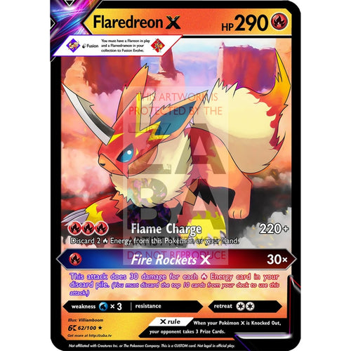 Flaredreon (Flamedramon X Flareon) Custom Pokemon Card