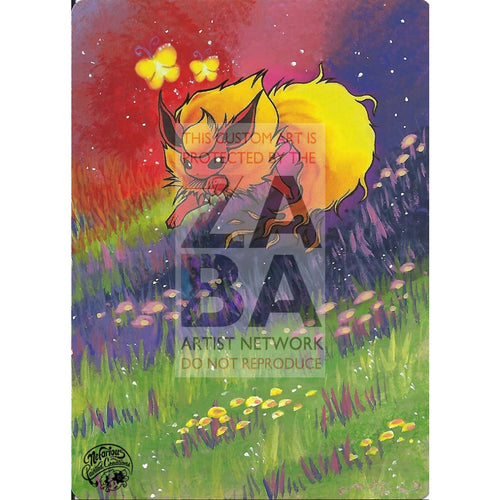 Flareon 19/64 Jungle Extended Art Custom Pokemon Card Silver Holo