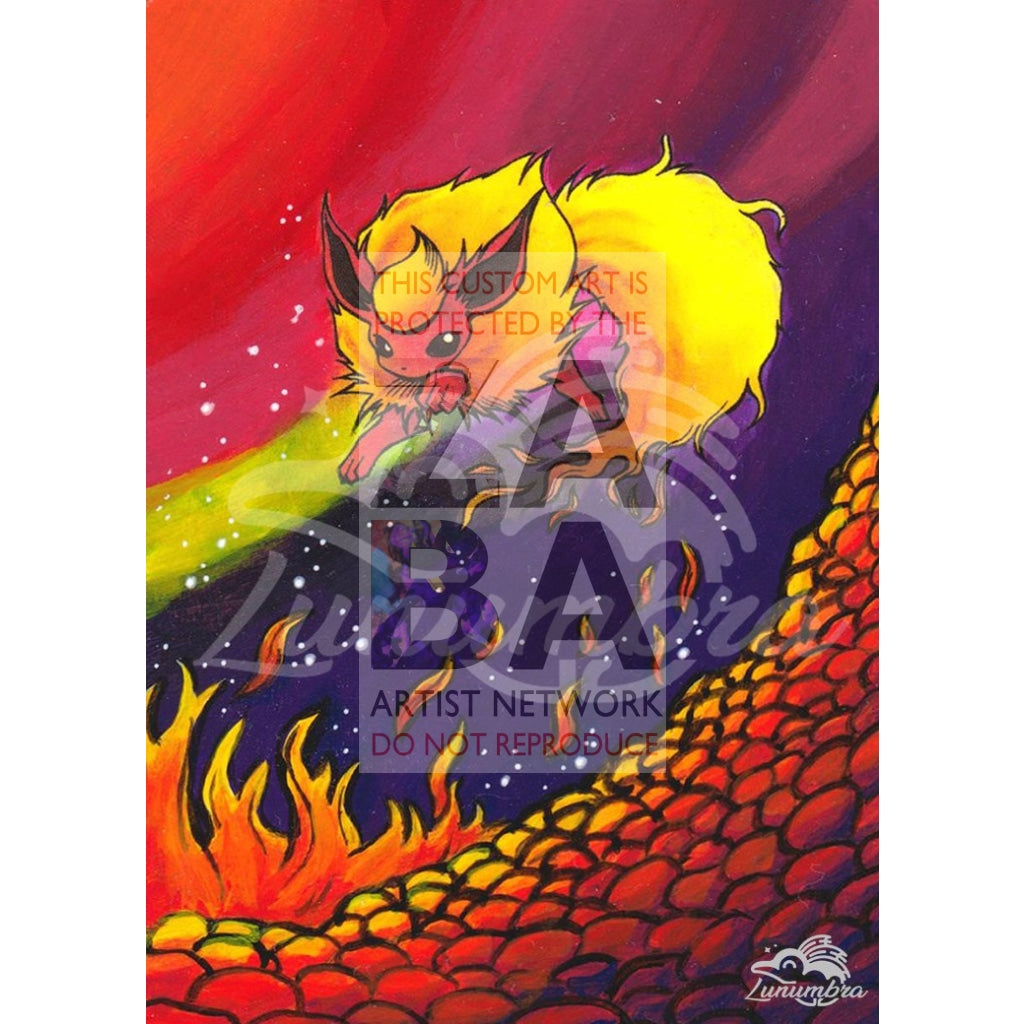 Flareon 3/64 Jungle Set Extended Art Custom Pokemon Card Textless Silver Holographic