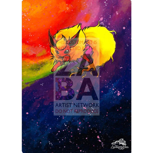 Flareon 3/64 Jungle V.2 Set Extended Art Custom Pokemon Card Textless Silver Holographic
