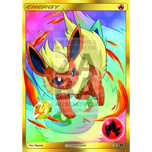 Flareon Fire Energy Pigreak Custom Pokemon Card