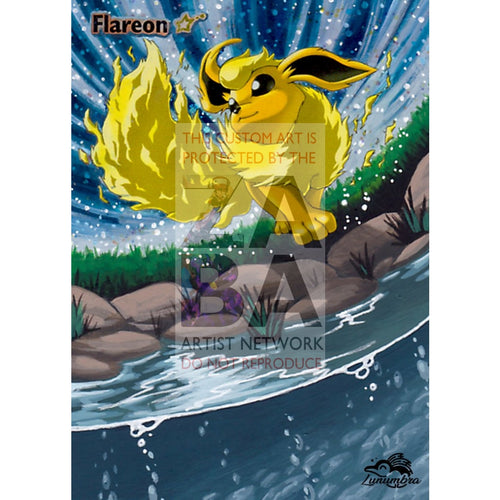 Flareon Gold Star 100/108 Ex Power Keepers Extended Art Custom Pokemon Card Textless Silver Foil