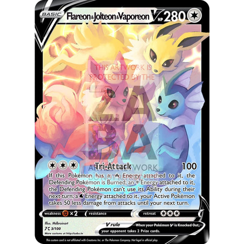 Flareon Jolteon & Vaporeon V Custom Pokemon Card Text / Silver Foil