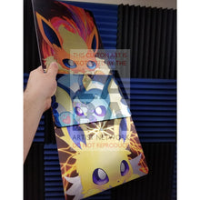 Flareon Maeartistry 8X10.5 Holographic Poster Combo Set Chibi Close-Up Custom Pokemon Card