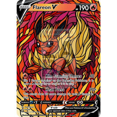 Flareon V Stained-Glass Custom Pokemon Card Standard / Silver Foil