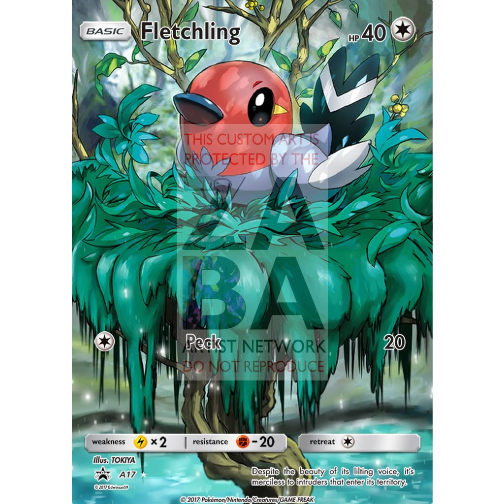 Fletchling 94/114 Steam Siege Extended Art Custom Pokemon Card Silver Holographic