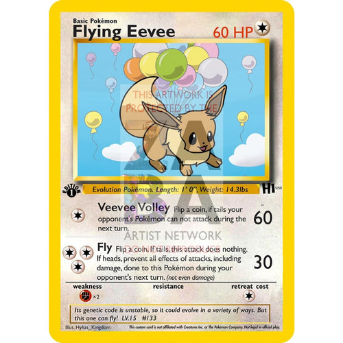 Flying Eevee Custom Pokemon Card Silver Foil
