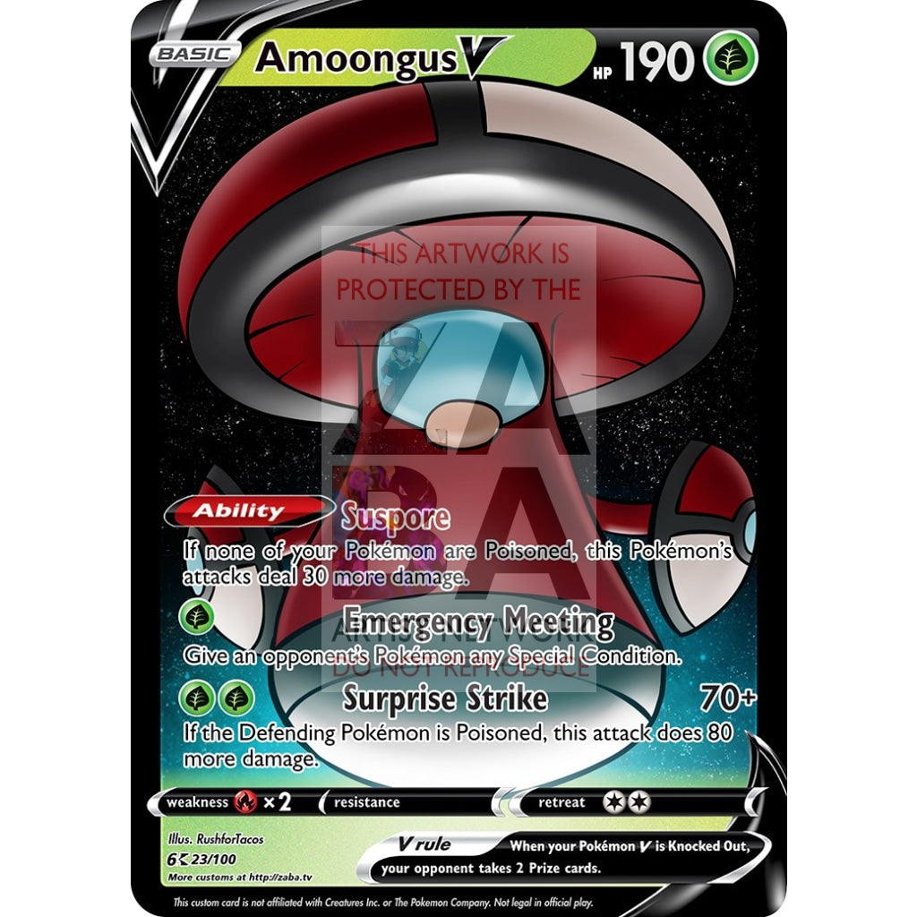 Amoongus V Custom Pokemon Card Red / Silver Foil
