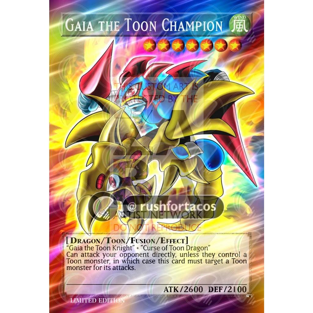 Gaia The Toon Champion Full Art Orica - Custom Yu-Gi-Oh! Card