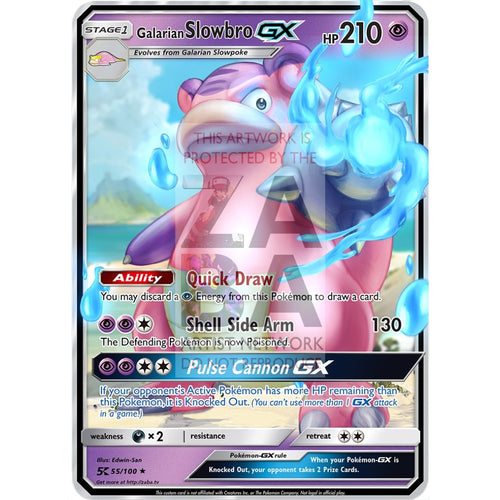 Galarian Slowbro Gx Custom Pokemon Card Silver Foil
