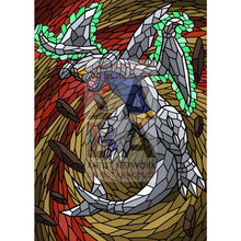 Garchomp V Stained-Glass Custom Pokemon Card Great White Textless / Silver Foil
