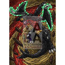 Garchomp V Stained-Glass Custom Pokemon Card Shining Textless / Silver Foil
