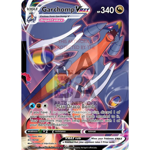Garchomp Vmax Custom Pokemon Card Silver Foil