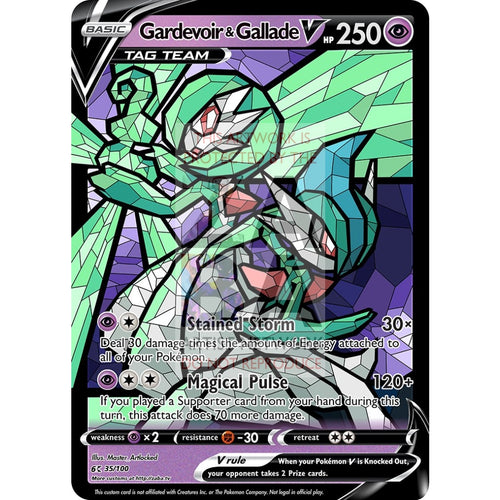 Gardevoir & Gallade V (Stained-Glass) Custom Pokemon Card Standard / With Text Silver Foil