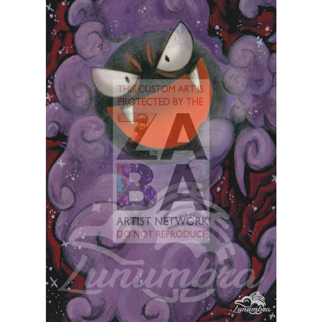 Gastly 62/100 Stormfront Extended Art Custom Pokemon Card Textless Silver Holographic