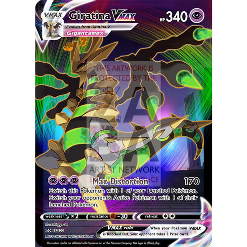 Giratina Vmax Custom Pokemon Card Silver Foil