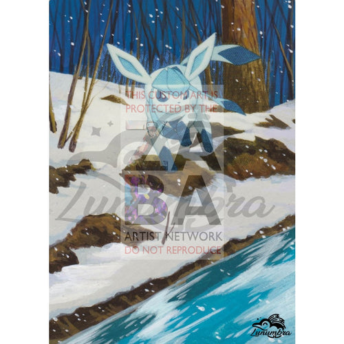 Glaceon 41/120 Rising Rivals Extended Art Custom Pokemon Card Textless Silver Holographic