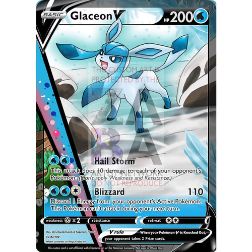 Glaceon V Custom Pokemon Card Silver Foil