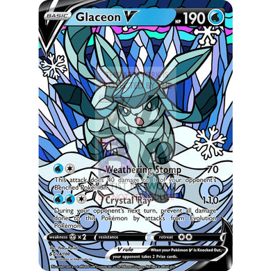 Glaceon V Stained-Glass Custom Pokemon Card Standard / Silver Foil